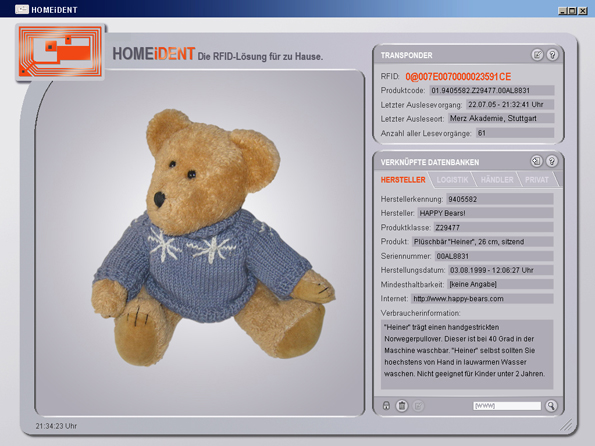 HOMEiDENT: Manufacturer's information on the teddy bear.